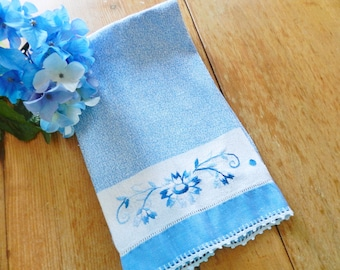 Blue Towel, Blue Hand Towel, Guest Towel, Embroidered Towel, Blue Dish Towel, Crocheted Trim Towel, FREE USA SHIPPING with 2 Towels