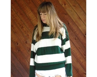 extra 30% off sale . . . Green and White Stripe Knit Sweater - Vintage 80s - MEDIUM