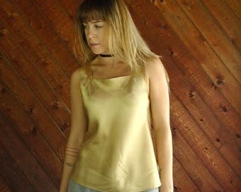 25% off Flash Sale . . . Gold Satin Tank Blouse - Vtg 90s - SMALL