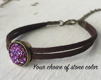 Leather Druzy Bracelet, Brown Leather Bracelet, 12mm druzy bracelet, boho bracelet
