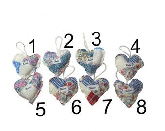 Vintage Quilt Scraps Heart Ornament Love, Hope, Believe Stuffed Fabric Heart, Appliqued Heart