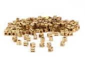 Channel Spacer Bead, 100 Raw Brass Spacer Beads, Spacer Connectors, Cube Beads with Channel (3.4x3mm) D131