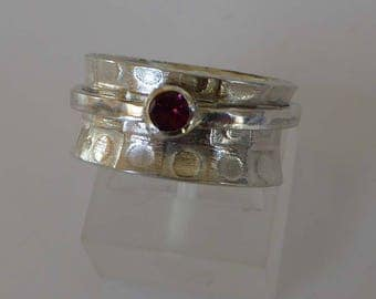 silver spinner pink Tourmaline size P ready to ship