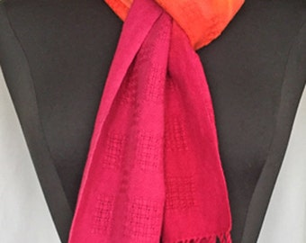 Handwoven scarf, hand painted scarf, cotton scarf, OOAK scarf, Tequila Sunrise scarf