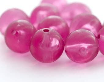 Vintage Raspberry Pink Round Lucite Beads 13mm (12)