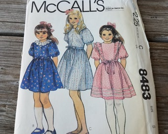 McCalls pattern 8483 Annie Girls Dress Size 8