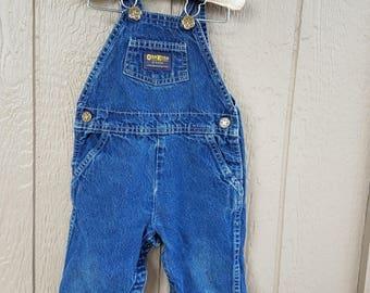 Classic OshKosh Blue Denim Baby Overalls Size 24 months