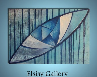 Original large abstract painting wall art deco by Elsisy 36x24 sale