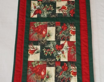 Cardinal Table Runner for Christmas Reverses to Poppies for Spring and Summer