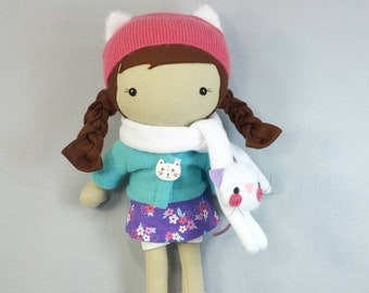 "Handcrafted STUDIO DOLL 15"" - Girl in the Jacket with Kitty Scarf. Handmade, Doll, Girl, Toy, Plush, Children, Gift"