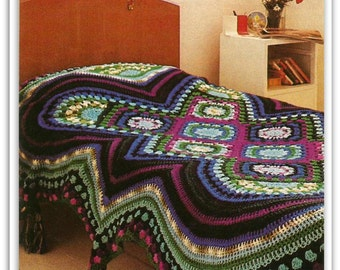 Crochet Afghan Pattern - PDF Pattern 05271612 - A Fascinating Mixture of Crocheted Motifs