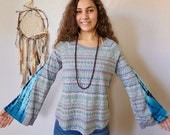 Fair Isle Print Tie Dye Thermal Eco Friendly Bell Sleeve Hippie Top Shirt Upcycled Eco Friendly Tee Tshirt Size Large