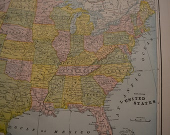 1897 LARGE United States Map - Vintage Antique Map Great for Framing 100 Years Old