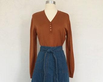 Vintage Rust Henley Sweater Womens sz. Medium