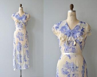 Myrtilles silk dress | vintage 1930s dress | floral silk 30s dress