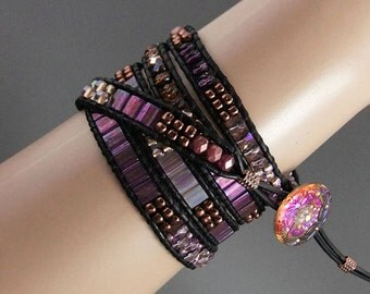 Iridescent Amethyst Tila Bead Leather Wrap Bracelet, Handmade, 5 Wrap, Black Leather, Ladder Bracelet, Czech Glass Button,Boho,Hippie