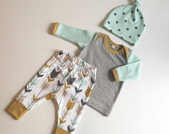 Reserved for Jenna Pritchard--Baby Boy Leggings with Matching Hat - Premium Custom Fabric