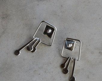 Silver earrings Square earrings Sterling Silver earrings dangle Earrings hand crafted for Pierced ears long earrings