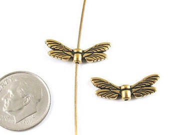 TierraCast Pewter Beads-Antique Gold DRAGONFLY WINGS (2)