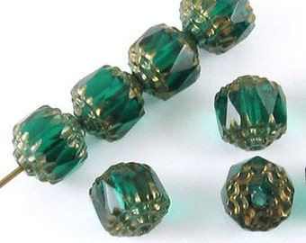 Faceted Czech Crown Cathedral Beads-TEAL GREEN 8mm (12)