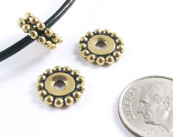 TierraCast Large 2.5mm Hole Pewter Beads-Gold BEADED DAISY SPACER 12mm (4)