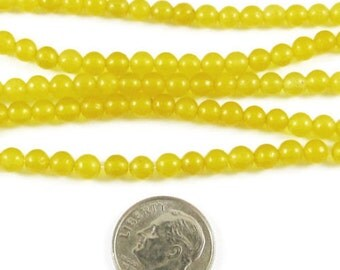 "15"" Round Gemstone Beads-Golden Yellow CANDY JADE 4mm (95 beads)"