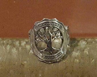 Handmade Sterling Silver Tree Ring Spoon Ring