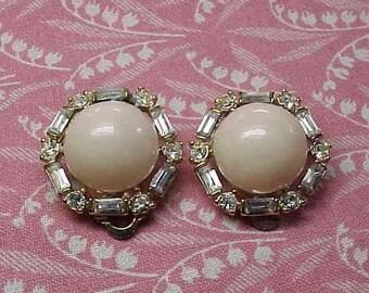 Vintage Nini Ricci Cream Dome Clear Rhinestone Gold tone Clip on Earrings