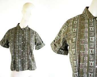Sanforized Made in Japan Green and Brown Mid Century Print Short Sleeve Collar Button Down Woman's Tailored Retro Blouse