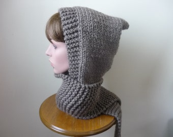 Hooded Scarf Chunky Knit Scoodie Teen Adult Warm Hooded Scarf - Taupe - Ready to Ship - Direct Checkout