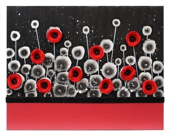 Art Painting of Poppy Flowers on Canvas - Red and Black Bedroom Decor - Small 20x16