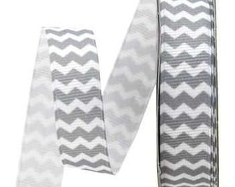 Chevron Gray and White Striped Grosgrain Ribbon - 5 Yards 5/8in |