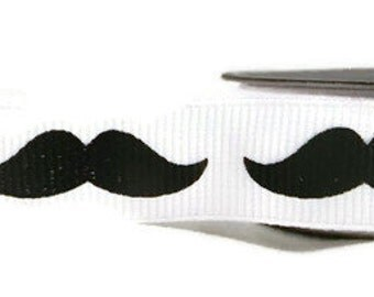 Moustache Burlap Ribbon - White Grosgrain   5 Yards   Sewing Ribbon
