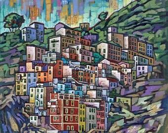 Riomaggiore, Cinque Terre, Italy, Italian Riviera, 8x10 Art Print by Anastasia Mak