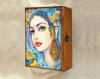 Beautiful Indian woman art box, treasure box, Indian decor, Indian princess, watercolor illustration, jewelry box, 7x10