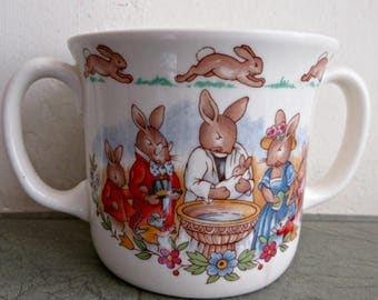 Vintage Bunnykins Cup, Christening Cup, Royal Doulton Cup, Bunnykins Christening Mug, Two Handled Cup, Childs Mug, Made in England China Cup
