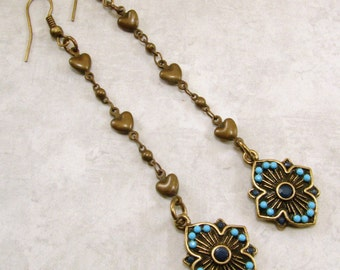 Antique Brass Turquoise flower and heart chain earrings