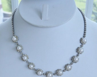 "On sale Beautiful Vintage Faux Pearl, Rhinestone Necklace, 17"", Wedding (F8)"