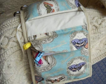 Antique Butterflies Sewing Caddy, Handwork Organizer