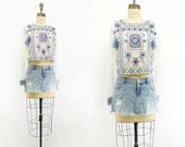 Embroidered Blouse Boho White Blouse Cropped White Blouse Boho Embroidered Top 90s Boho Beaded Top India Beaded Blouse Blue Beaded Top s, m