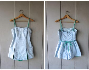 Vintage 1950s Swimsuit Gabar Swimsuit with Skirt Blue Summer Romper Suit Floral Swimwear Play Suit 60s Pin Up One Piece Bathing Suit Medium