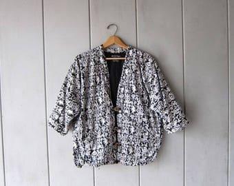 Vintage Tribal Jacket Black White Slouchy Shrug Oversized Ethnic Jacket with POCKETS Vintage 90s Aztec Print Coat Womens Large XL