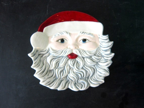 Santa Claus Plate Vintage Christmas Cookie Serving Platter or Wall Hanging Holiday Home Decor