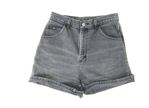 "Vintage 1990s washed out Black Gray jean shorts high waist MOM denim shorts roll up Faded Denim LEE Shorts Womens 29"" waist"