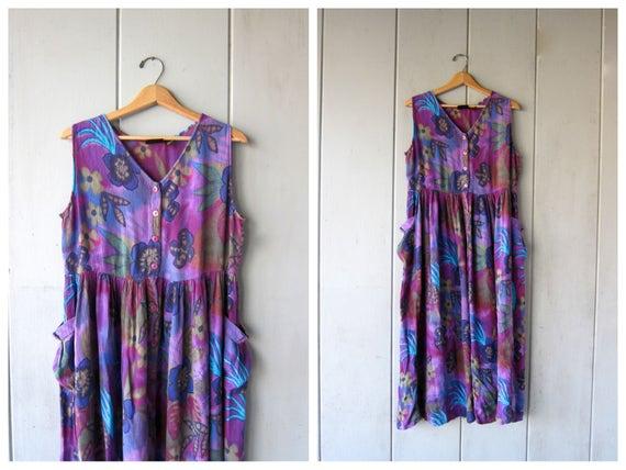 90s Floral Dress Purple Loose Fit Frock Long Sun Dress Flower Print Boho Slip Dress with POCKETS Vintage 1990s Midi Sun Dress Womens Small