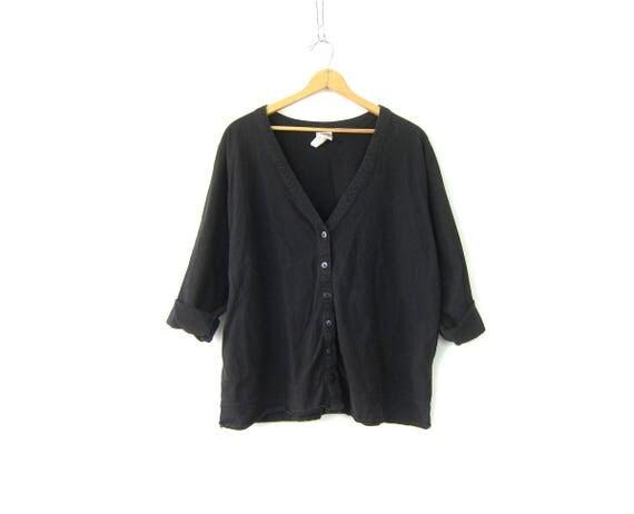 Long Black Cotton Cardigan Vintage Slouchy Minimal Plain Basic Button Down Jersey Blouse Tshirt Oversized Overshirt Womens Plus Size 2X
