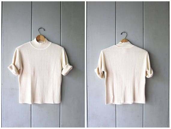 Vintage 90s Silk Knit Top Ribbed Mock Neck Tee Short Sleeve Minimal Shirt Preppy Knit Sweater Modern Silk Crop Top Womens Small