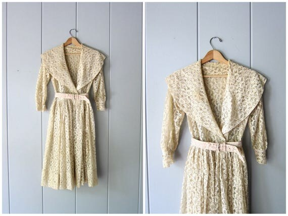 50s Lace Dress Feminine Flowing Dress Sheer Cream White Wedding Dress Victorian Edwardian Boho Dress Vintage Cocktail Dress Womens Small