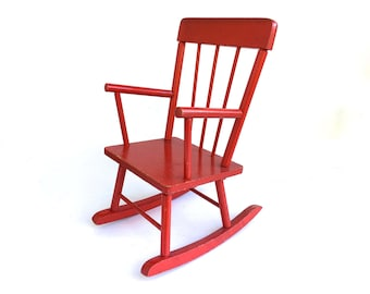 Vintage Red Child's Rocking Chair