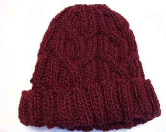 Wine Cable Wool Beanie mens/womens/burgundy/winter